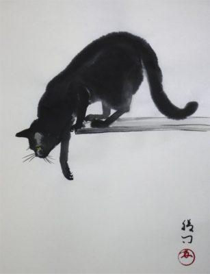 水墨画「猫」 福田勝司筆