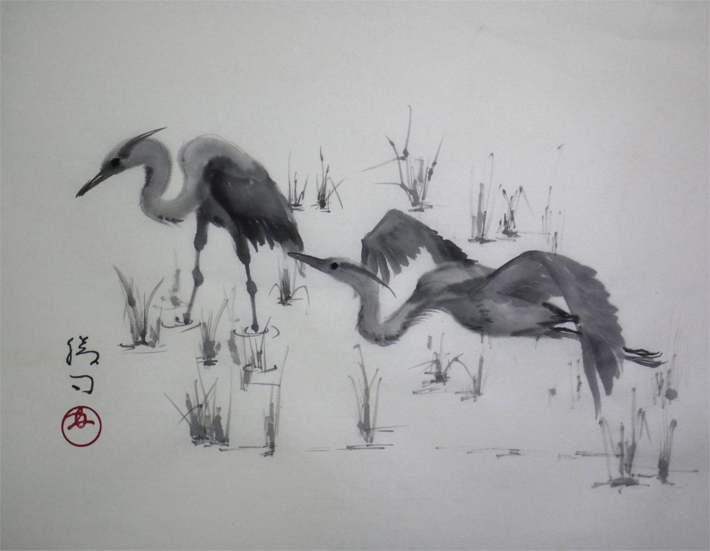 彩墨画「アオサギ」福田勝司筆