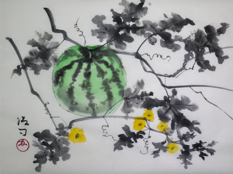 彩墨画「西瓜」福田勝司筆
