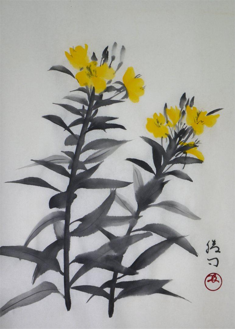 彩墨画「待宵草」福田勝司筆
