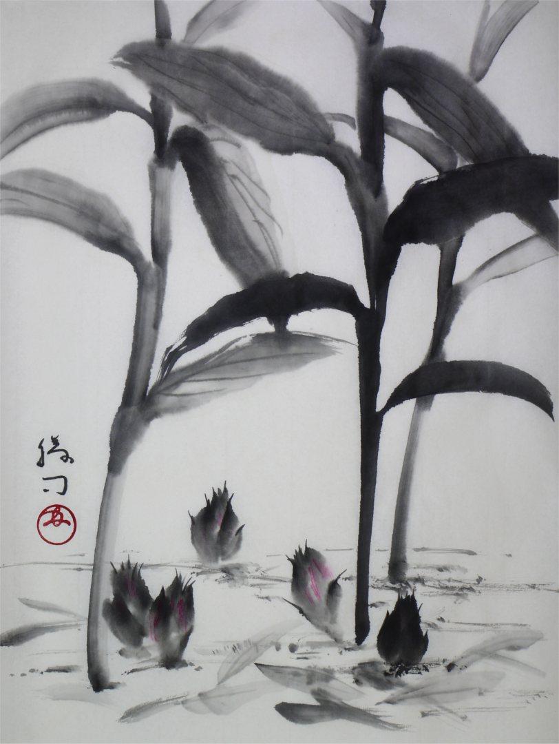 彩墨画「茗荷」福田勝司筆
