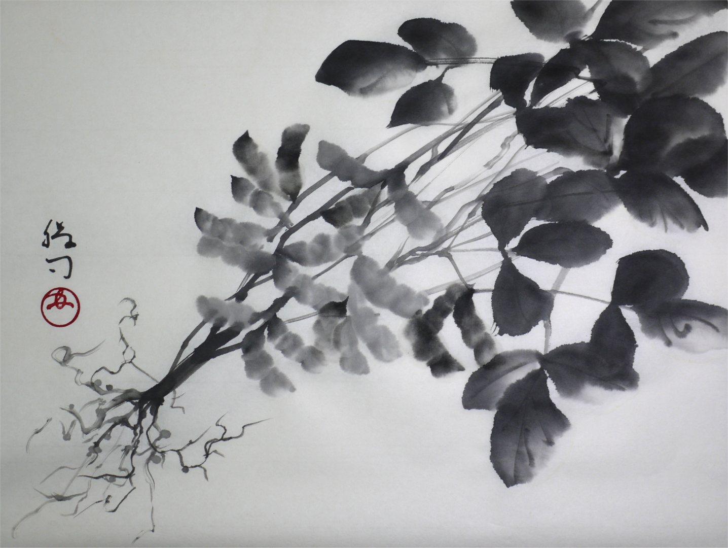 水墨画「枝豆」福田勝司筆