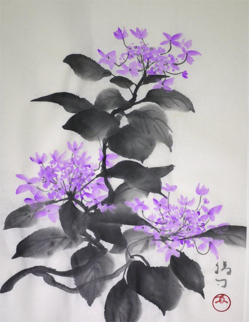 彩墨画「萼紫陽花」福田勝司筆