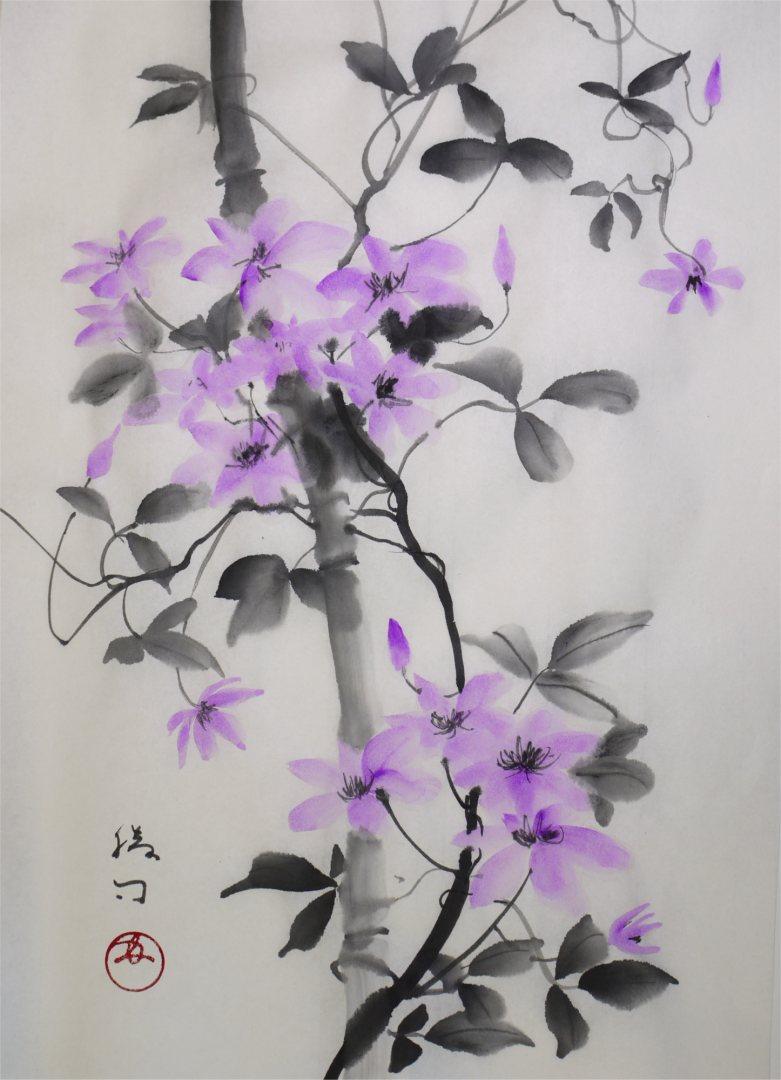 彩墨画「クレマチス」福田勝司筆