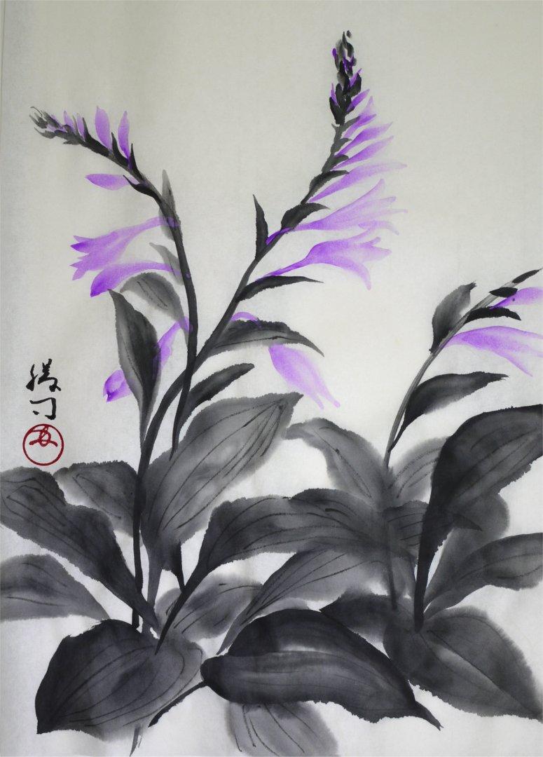 彩墨画「ギボウシ」福田勝司筆