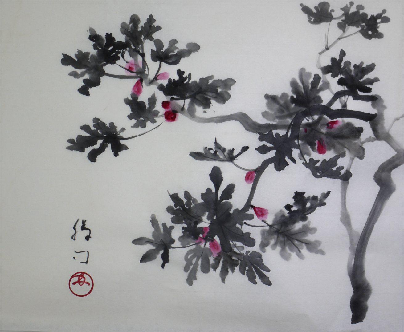 彩墨画「いちじく」福田勝司筆