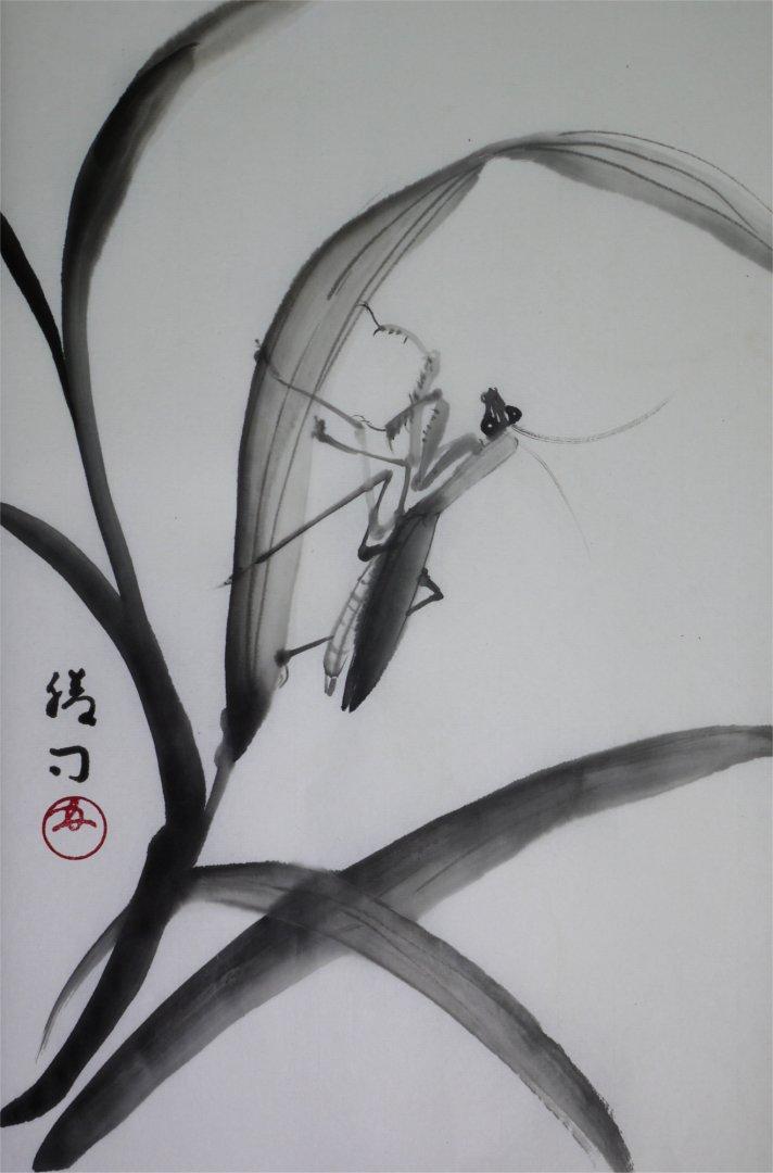 彩墨画「カマキリ」福田勝司筆