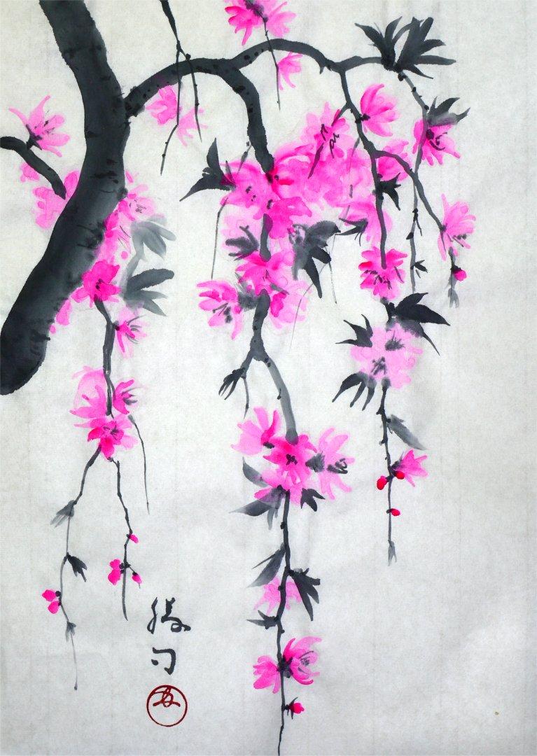 彩墨画「枝垂れ桃」福田勝司筆
