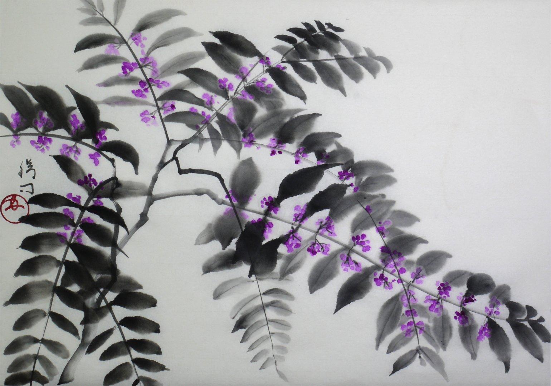 彩墨画「紫式部」福田勝司筆