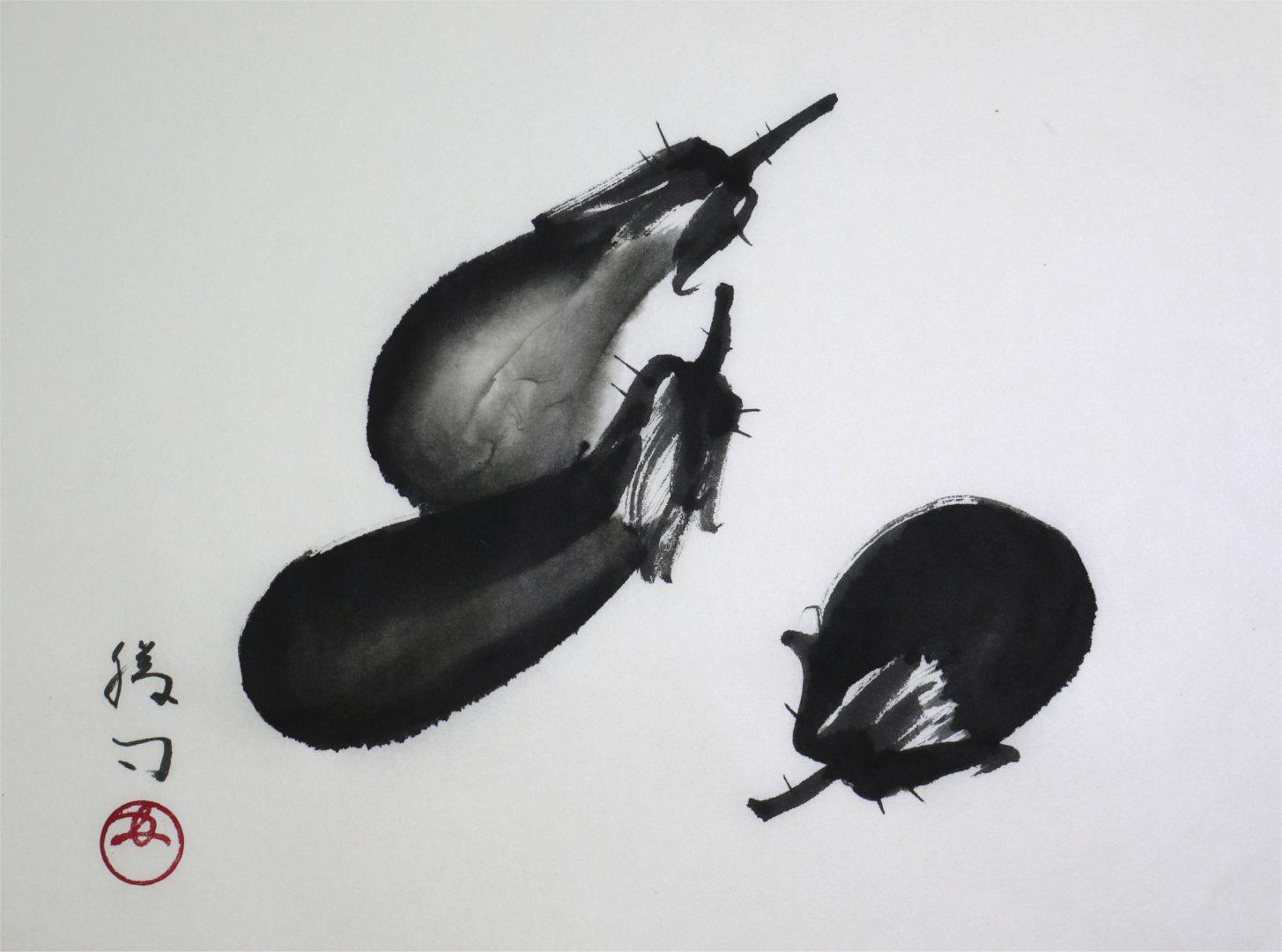 彩墨画「茄子」福田勝司筆