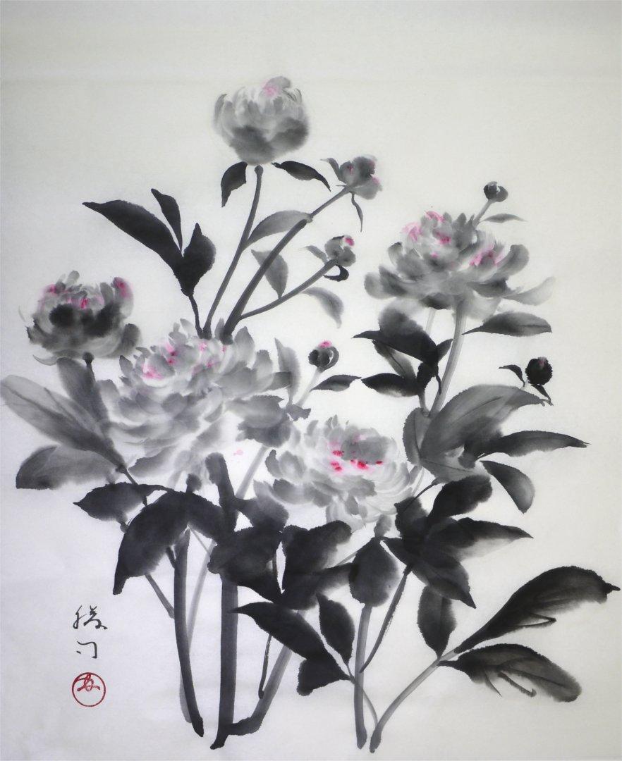 彩墨画「芍薬」福田勝司筆