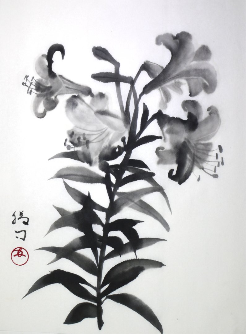 彩墨画「百合」福田勝司筆
