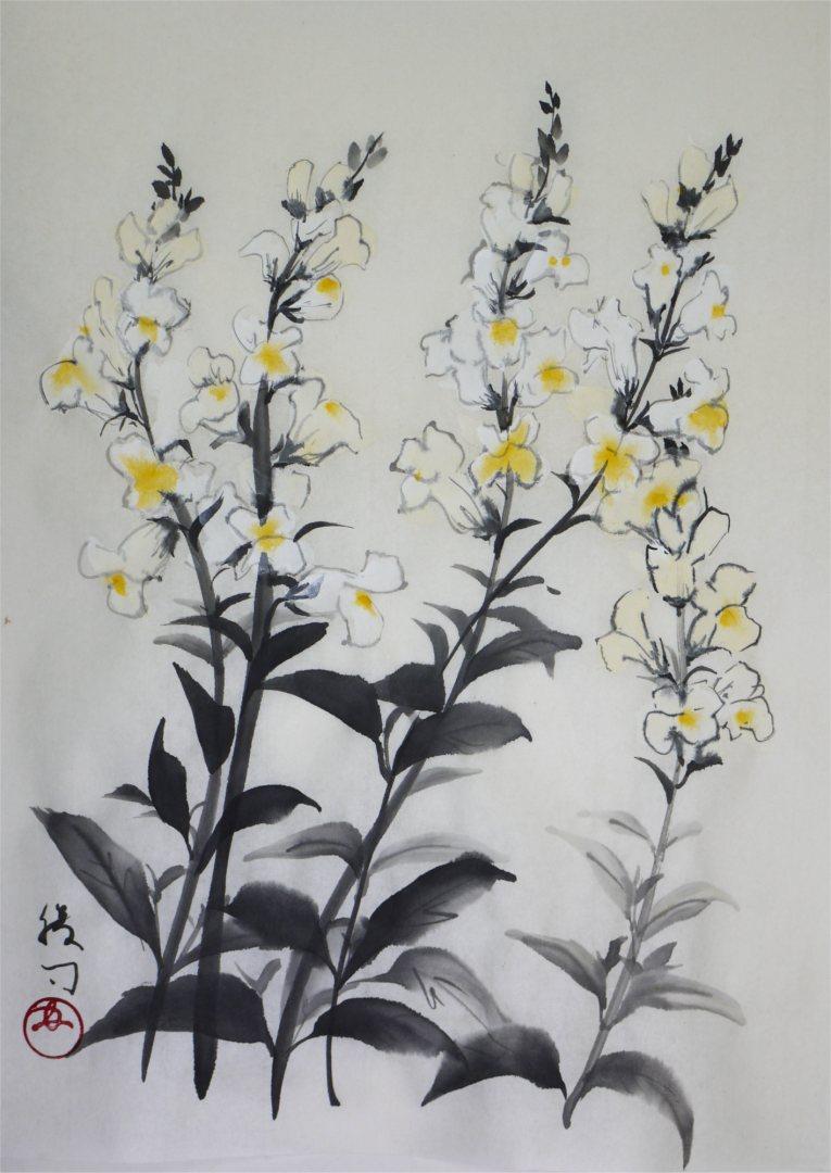 彩墨画「金魚草」福田勝司筆
