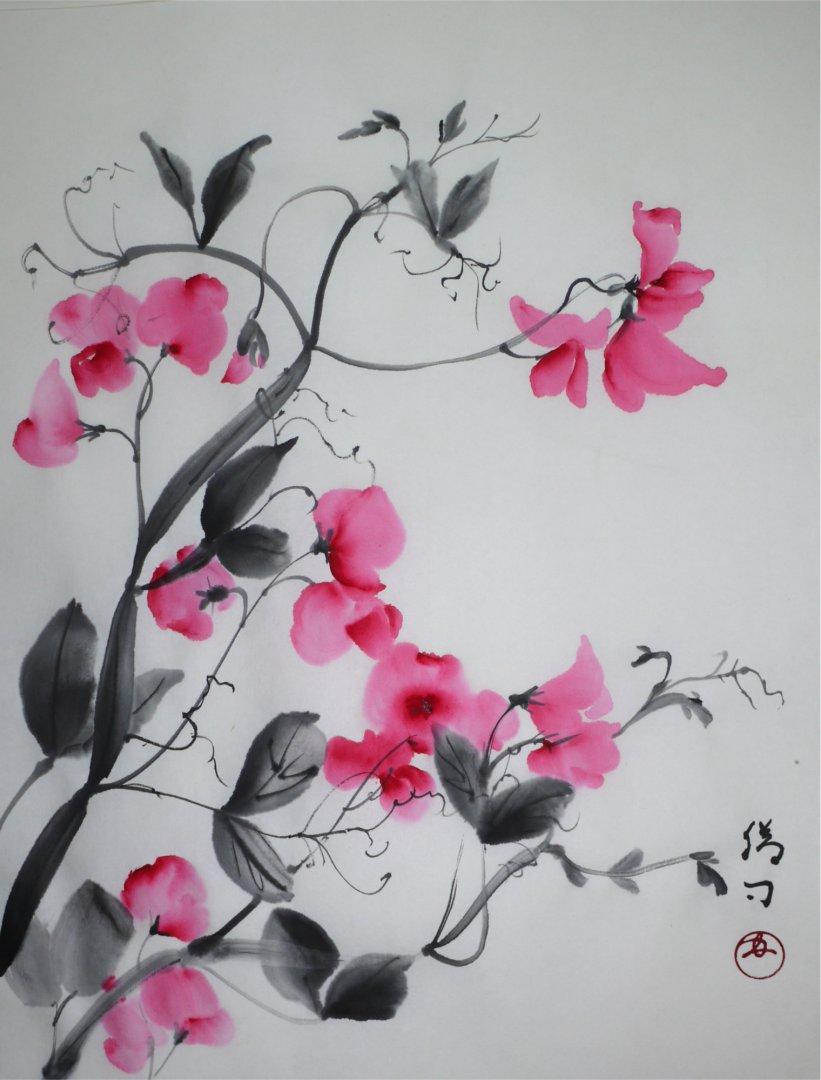 彩墨画「スイートピー」福田勝司筆