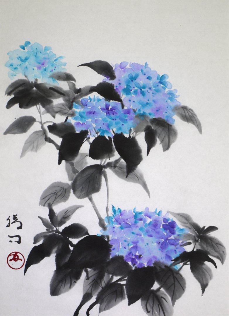 彩墨画「紫陽花」福田勝司筆
