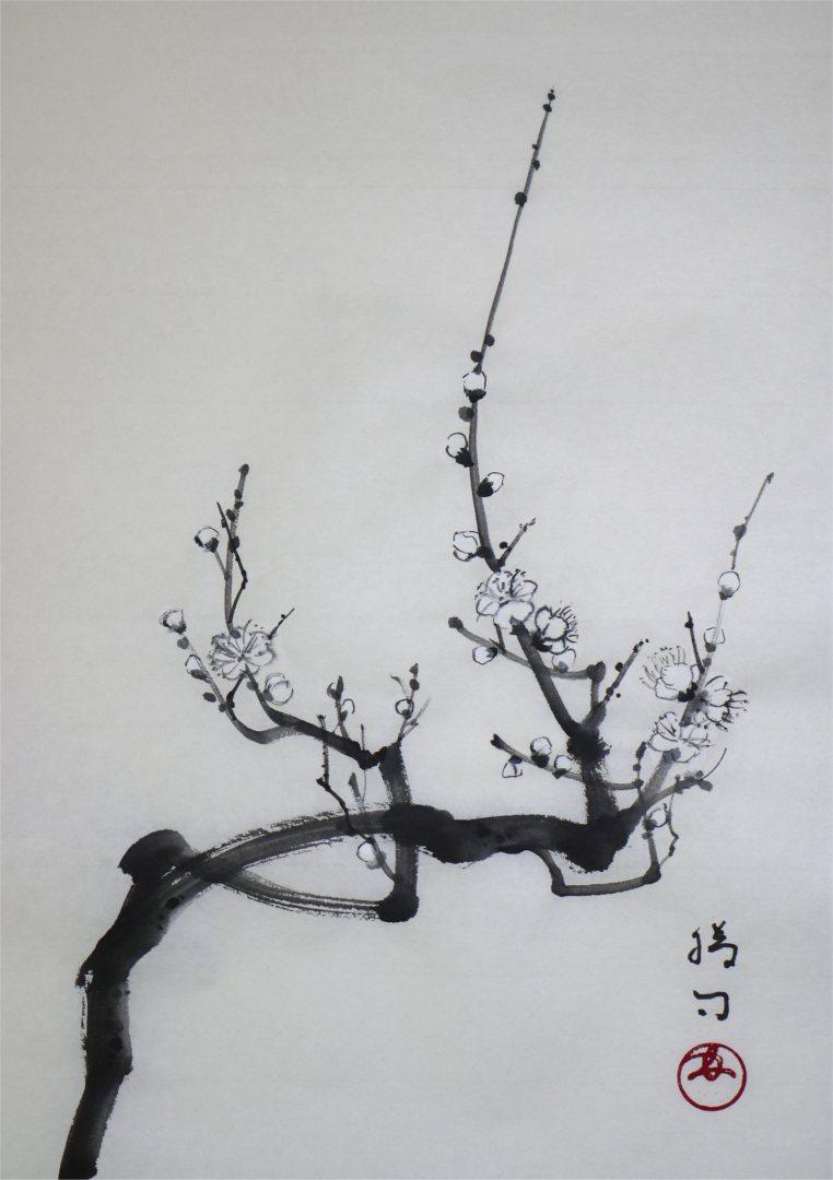 彩墨画「白梅」福田勝司筆