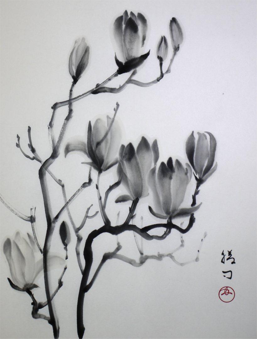 水墨画「白木蓮」福田勝司筆