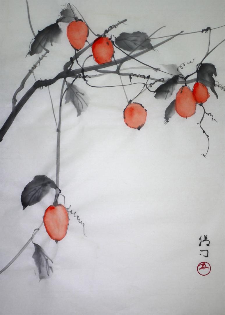 彩墨画「カラスウリ」福田勝司筆