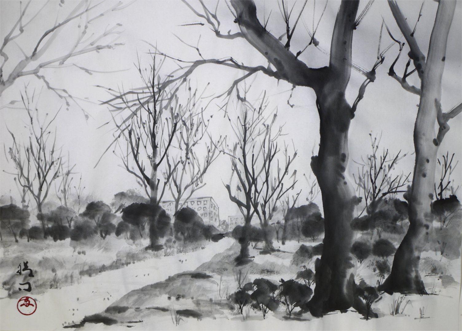 水墨画「冬の風景」福田勝司筆