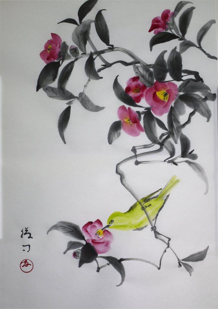 彩墨画「椿とメジロ」福田勝司筆