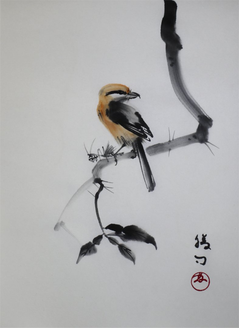 彩墨画「百舌鳥」福田勝司筆