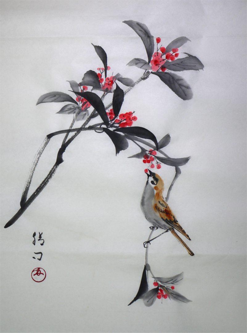 彩墨画「千両と雀」福田勝司筆