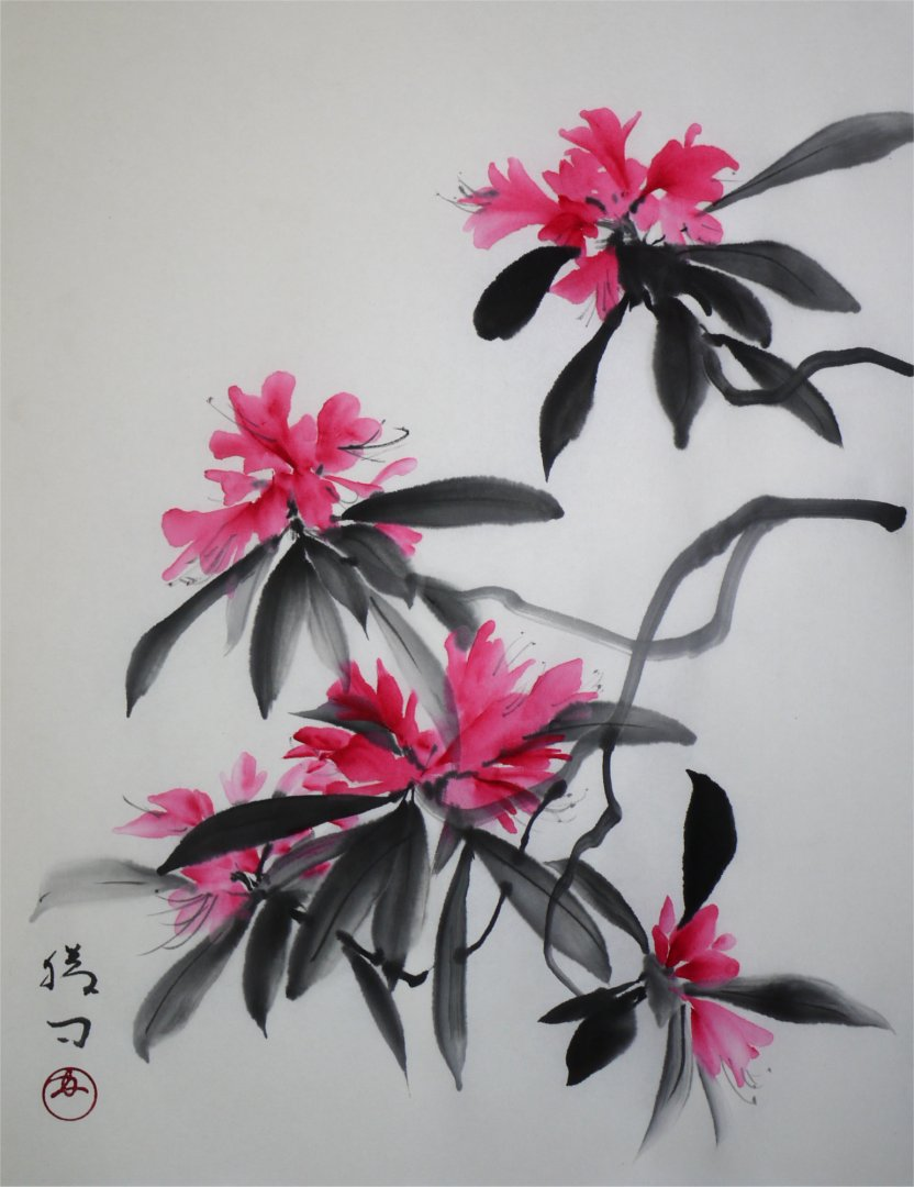 彩墨画「石楠花」福田勝司筆