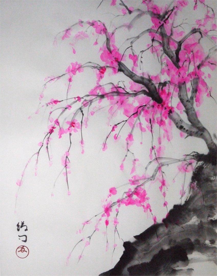 彩墨画「枝垂れ桜」福田勝司筆