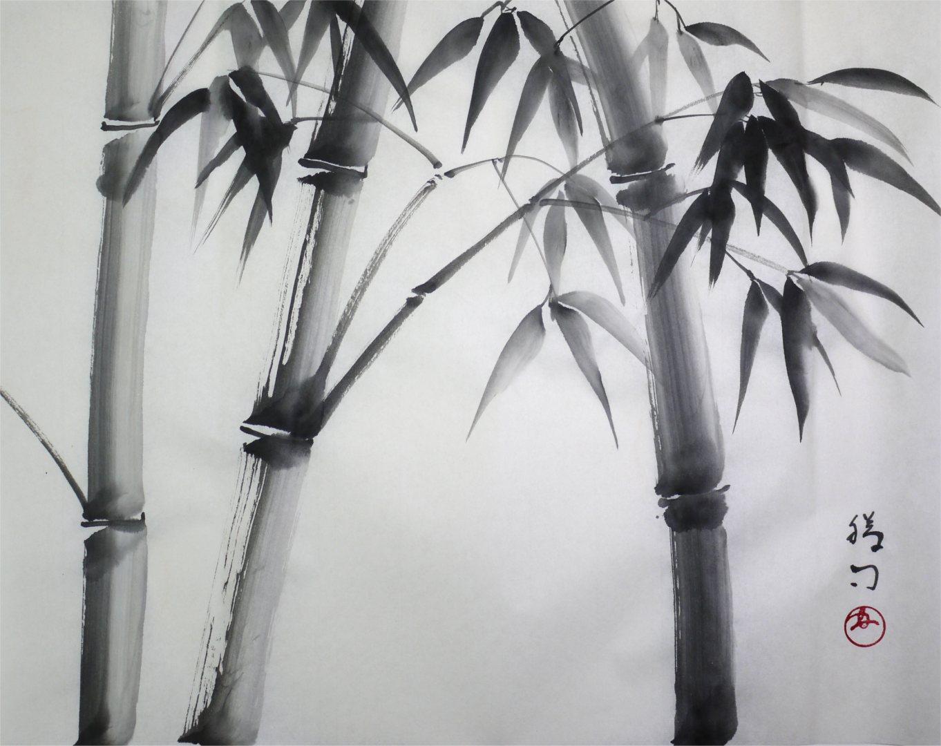 彩墨画「竹」福田勝司筆