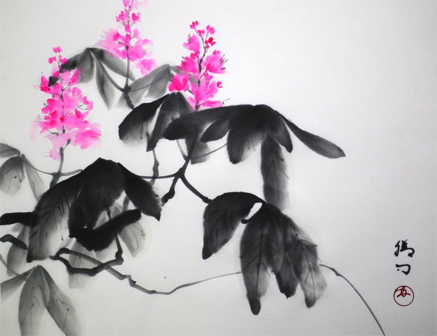 彩墨画「栃の木」福田勝司筆