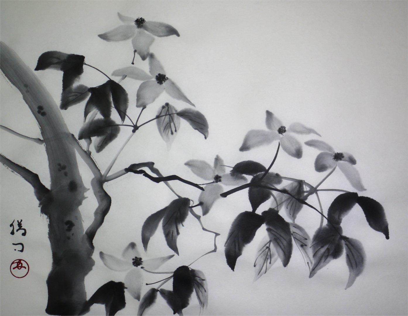 水墨画「ヤマボウシ」福田勝司筆