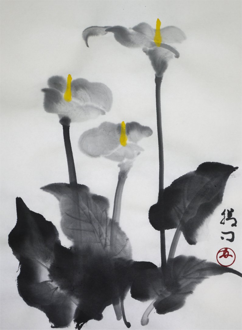 彩墨画「カラー」福田勝司筆