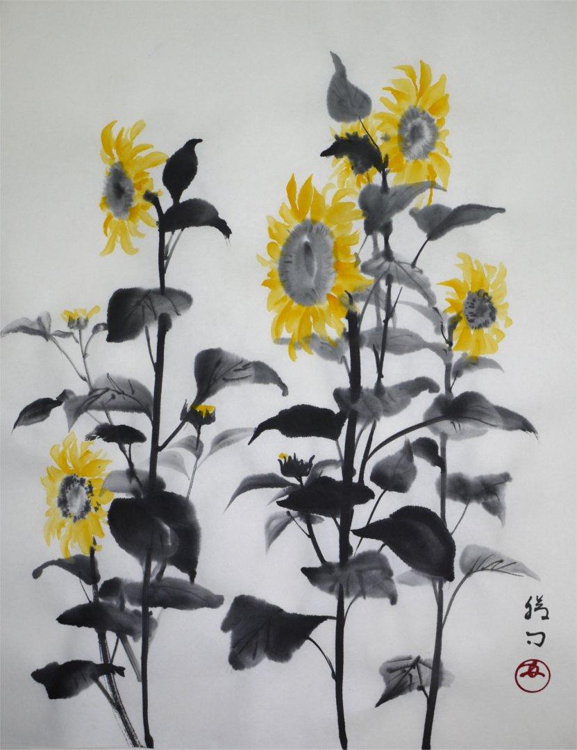 彩墨画「向日葵」福田勝司筆