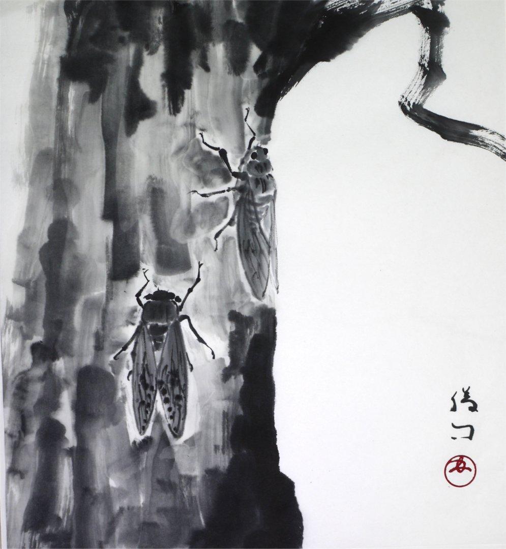 彩墨画(水墨画)「蝉」福田勝司筆