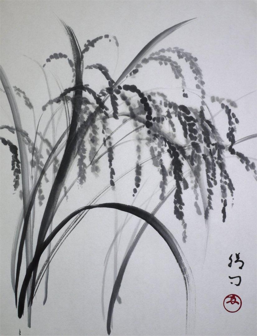 彩墨画「稲」福田勝司筆