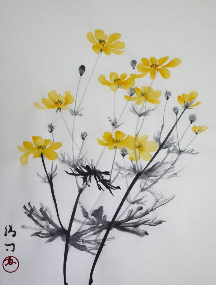 彩墨画「キバナコスモス」福田勝司筆