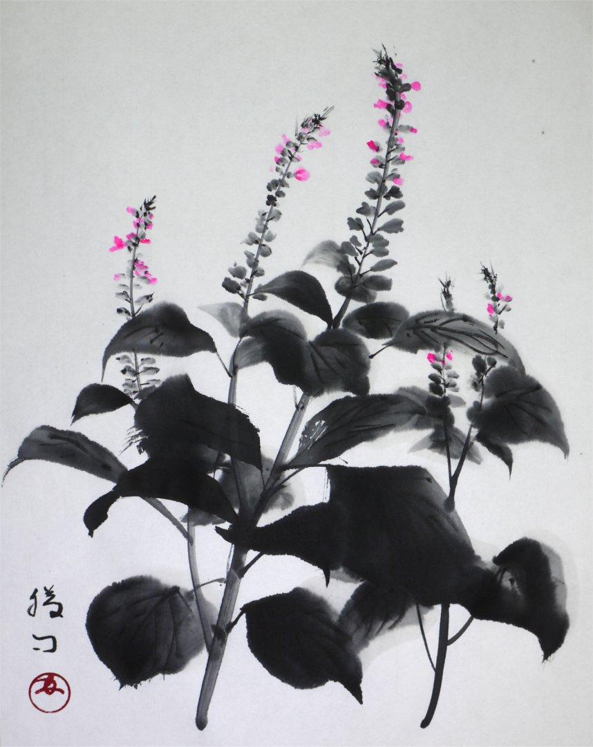 彩墨画「紫蘇」福田勝司筆