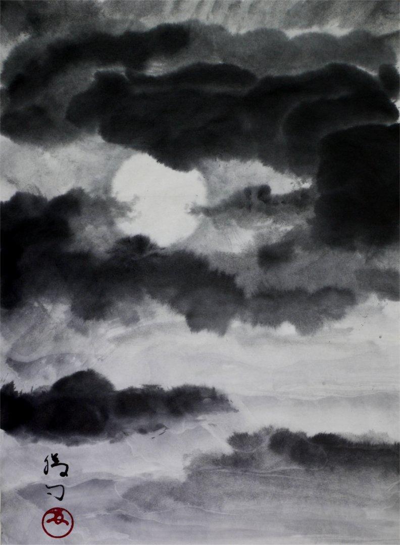 水墨画「満月」福田勝司筆